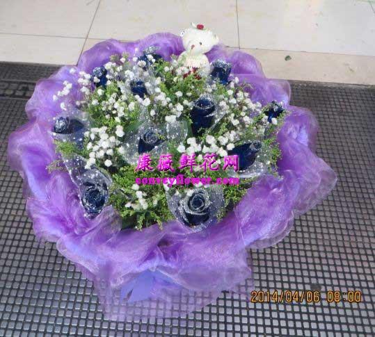 11支蓝色玫瑰,满天星,圆形包装